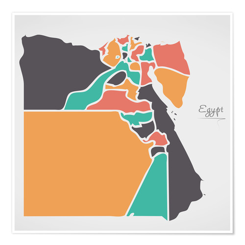 Premium poster Egypt map modern abstract with round shapes