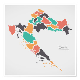 Premium poster Croatia map modern abstract with round shapes