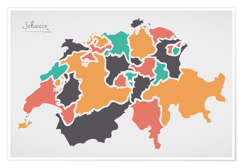 Premium poster Switzerland map modern abstract with round shapes