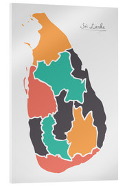 Acrylic print  Sri Lanka map modern abstract with round shapes - Ingo Menhard