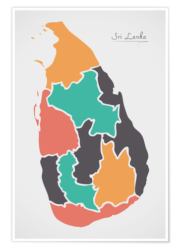 Premium poster Sri Lanka map modern abstract with round shapes