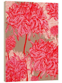 Wood  Pretty in pink chrysanthemum - Ella Tjader