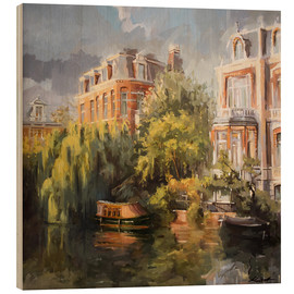 Wood print  Home on the canal - Johnny Morant