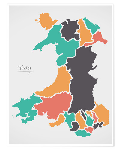 Premium poster Wales map modern abstract with round shapes