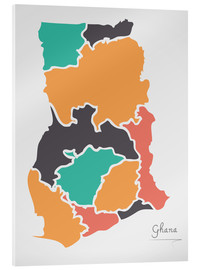 Acrylic print  Ghana map modern abstract with round shapes - Ingo Menhard