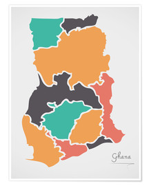 Premium poster Ghana map modern abstract with round shapes