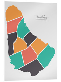 Acrylic print  Barbados map modern abstract with round shapes - Ingo Menhard