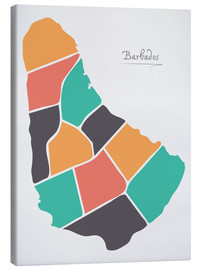 Canvas print  Barbados map modern abstract with round shapes - Ingo Menhard