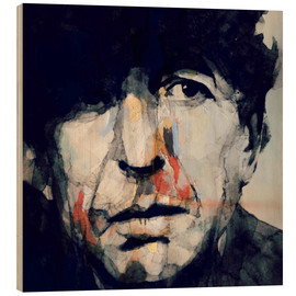 Wood print  Leonard Cohen - Paul Lovering