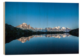 Wood print  Mont Blanc reflected in Lacs des Chéserys, France - Roberto Sysa Moiola