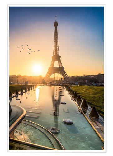 Romantic Sunrise At The Eiffel Tower In Paris France