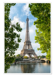 Premium poster Eiffel Tower on the Seine River, Paris, France