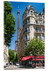 Acrylic print  Eiffel tower with street cafe in Paris, France - Jan Christopher Becke