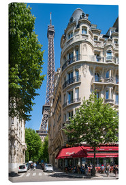 Canvas print  Eiffel tower with street cafe in Paris, France - Jan Christopher Becke