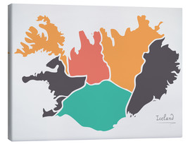 Canvas print  Iceland map modern abstract with round shapes - Ingo Menhard