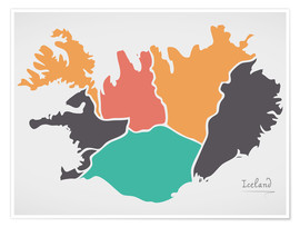 Premium poster  Iceland map modern abstract with round shapes - Ingo Menhard