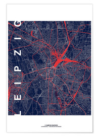 Premium poster  Leipzig Map Midnight city - campus graphics