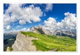 Premium poster Alps panorama on Seceda with Mount Geisler