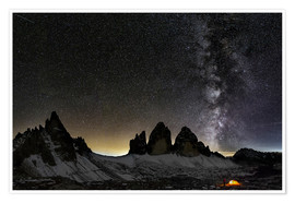 Premium poster Lonely Tent under Milky way over Tre cime - Dolomites