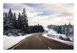 Premium poster  Curvy road in winter in the Black Forest - Dennis Fischer