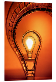 Acrylic print  Light bulb in staircase - Dennis Fischer