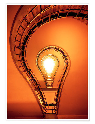 Premium poster Light bulb in staircase