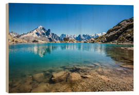 Wood print  Mont Blanc is reflected in Lacs des Chéserys, Chamonix, France - Roberto Sysa Moiola