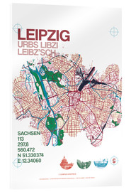 Acrylic print  Leipzig map city motive - campus graphics