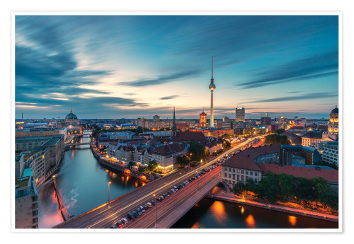 Premium poster Berlin panorama to the sunset