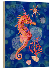 Wood print  Seahorse in the blue - Janet Broxon