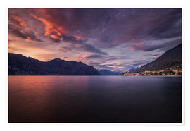 Premium poster  Sunset at Lake Garda with view on Malcesine - Dennis Fischer