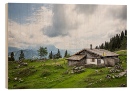 Wood print  Almhütte in Salzburg, alpine pasture in the Alps - Gerhard Wild