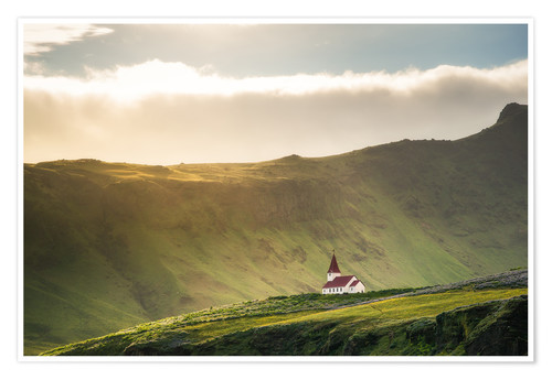 Premium poster Church in the light, Iceland