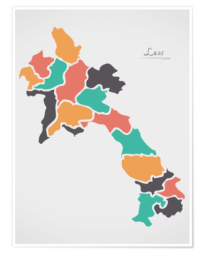 Premium poster Laos map modern abstract with round shapes
