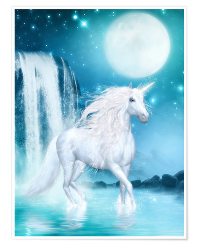 Premium poster Unicorn - Waterfalls and Moon