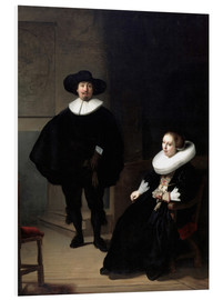Foam board print  A lady and gentleman in black - Rembrandt van Rijn
