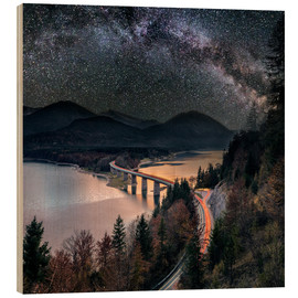 Wood print  Milky Way at Lake sylvester - Sylvensteinspeicher at Autmun - Dieter Meyrl