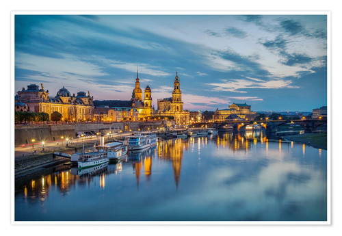 Premium poster Old Town Dresden at night