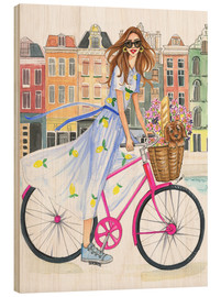 Wood print  Bike tour on the canal - Rongrong DeVoe
