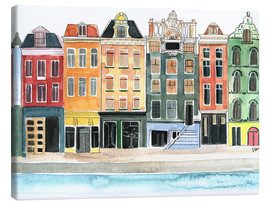 Canvas  Amsterdam watercolor - Rongrong DeVoe