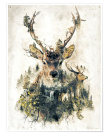 Premium poster  Deer nature, surrealism - Barrett Biggers