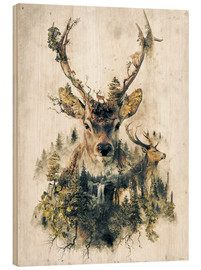 Wood print  Deer nature, surrealism - Barrett Biggers