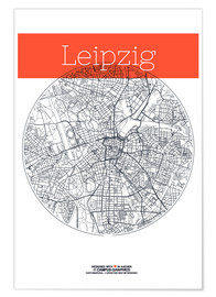 Premium poster  Leipzig map circle - campus graphics