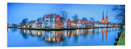 Foam board print  Panoramic of Lubeck reflected in river Trave, Germany - Roberto Sysa Moiola