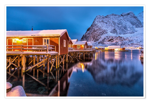 Premium poster Dusk on typical Rorbu, Reine, Norway