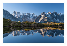 Premium poster Grandes Jorasses reflected in Lac De Cheserys, France