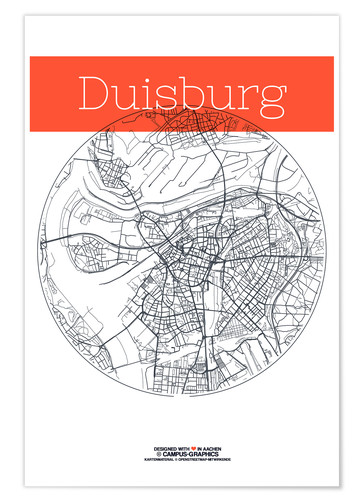 Premium poster Duisburg map circle
