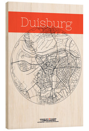 Wood print  Duisburg map circle - campus graphics