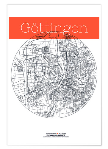 Gottingen Map Circle Posters And Prints Posterlounge Com