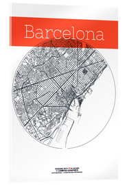 Acrylic print  Barcelona map circle - campus graphics